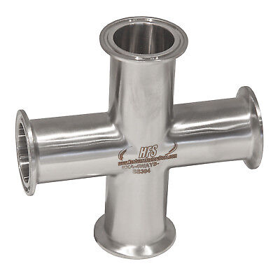 """HFS(R) 4 Way Cross + 2"""" Tri Clamp Fitting 304 Stainless Steel"""