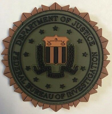 DOJ FBI Federal Bureau of Investigation Fabric Fastened 3D PVC Olive Drab Patch