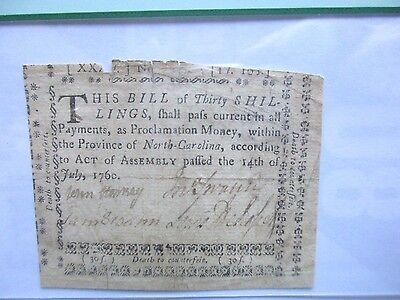 North Carolina Colonial Currency 30s, 1760, NC-110, Very Fine-25 apparent