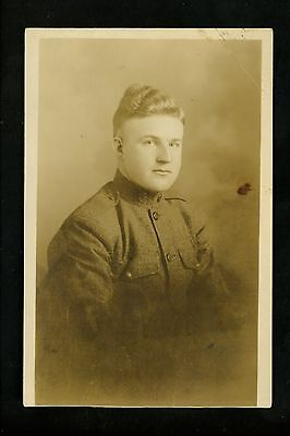Real photo postcard RPPC Military US army soldier in uniform WWI