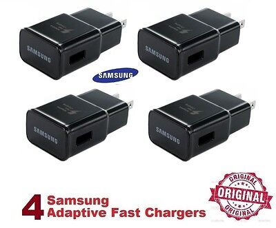 4 BLACK Original OEM Samsung Galaxy Note Adaptive Fast Rapid Wall Chargers NEW