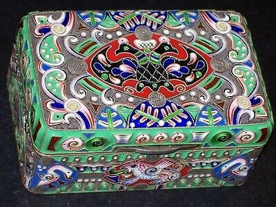 Russian Imperial Silver 88 Cloisonne Enamel Box Antique F.ruckert Faberge Russia