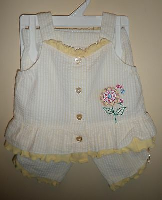 Infant Baby Works 2 Piece Yellow/White Set - Top and Pants- 6-9 Months