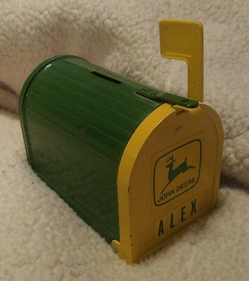 💰 🚜 john deere mail box piggy bank Alex stickers can be removed