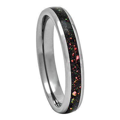 Opal Inlay Tungsten Ring 4mm Dome Wedding Band for Men or Women 5-10 Australian