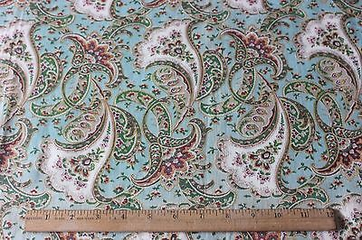 Antique c1910-1915 Cotton Feminine Floral Paisley Fabric~Sewing & Quilt Projects