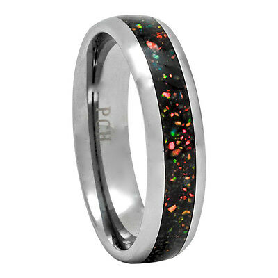 Opal Inlay Tungsten Ring 6mm Dome Wedding Band for Men or Women 8 to 13 Black