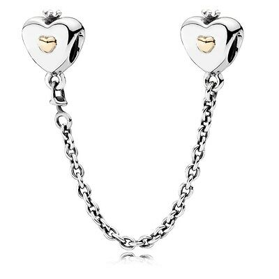 Authentic Genuine Pandora Charm Heart & Crown Safety Chain 5cm Length 791878