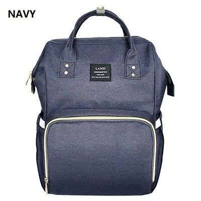 LAND Fashion Mummy Backpack  Baby Diaper Bag Newborn Nappy Tote Shoulder Navy