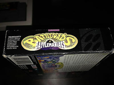 Battletoads in Battlemaniacs SNES Super Nintendo, Box and Game
