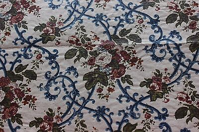 French c1860-70 Hand Wood Block Onto Paper Textile Design For Chintz Fabric