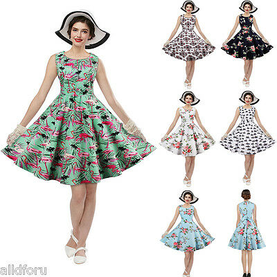 50'S 60'S ROCKABILLY Floral Vintage Style Swing Retro Housewife Party Dress 4XL