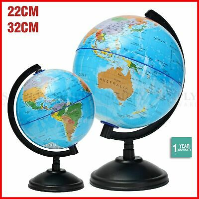World Globe Map On Stand Large Kids Light Of The Blue Gift Toy Education 22 32cm