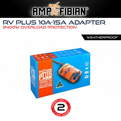 Ampfibian RV Plus 15Amp to 10Amp Converter Adapter, Mini Caravan RCD 15A to 10A