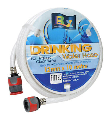 12Mm White Non Toxic Drinking Water Hose With Fittings - 10M Roll - Rv, Caravan