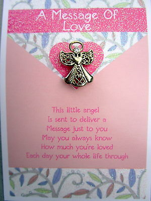 """message Of Love"" Card & Angel With Heart & Diamante Pin/charm Keepsake Gift Bn"
