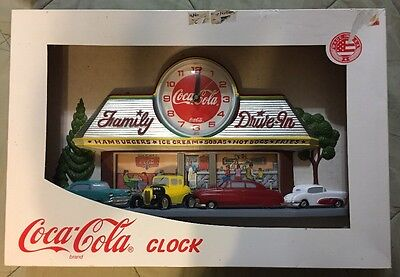Vintage Coca Cola Coke 3D Wall Clock 1950s Family Drive In Diner NEW IN BOX
