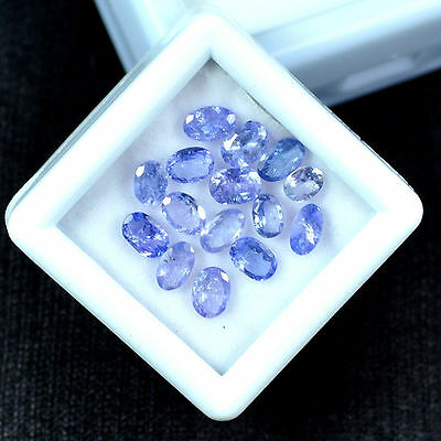 3.90 Ct/15 Pcs Natural Tanzanite Oval Faceted Gems Lot  For Setting Size~4mm-5mm