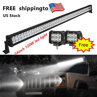 "120W 24Inch Led Light Bar with Free 2X 4"" CREE Driving Lamp OffRoad SUV Jeep ATV"