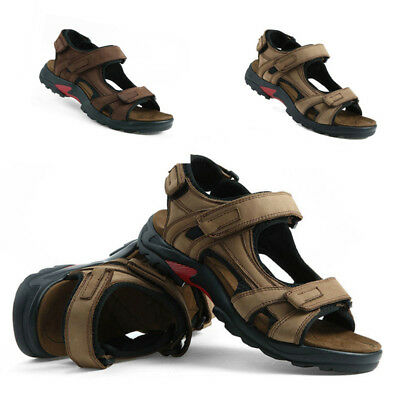 New Men Leather Summer Sandals Walking Hiking Trekking Trail Shoes UK 4.5-12