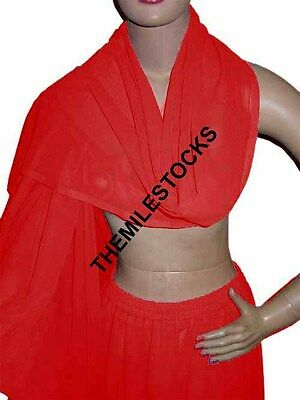 Red - TMS Veil Belly Dance Scarf Neckerchief Hijab Tribal Fabric - 25 Color