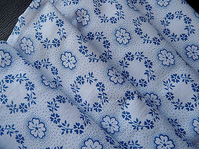 Vintage piece of Blue floral cotton fabric organic new from the 1930s