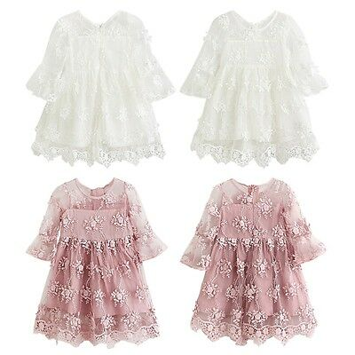 Girls Kids Flower Princess Dress Party Wedding Pageant Lace Tutu Dresses Clothes