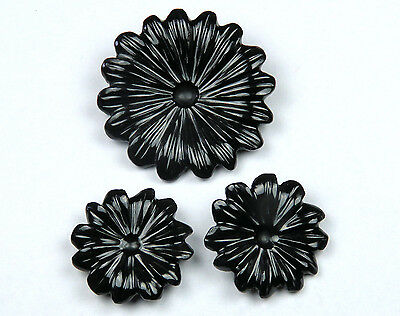 38 CTS Black Onyx Carved Flower Design Hand Crafted Carving 3 Piece set Lot