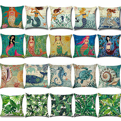Retro Vintage Cotton Linen Waist Throw Pillow Case Cushion Cover Home Sofa Decor