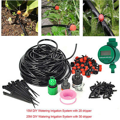 DIY Water Irrigation Kit Timer Auto Micro Drip Watering Plant System Garden Hose