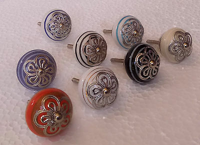 Ceramic Door Knobs Cabinet Drawer Wardrobe Cupboard Kitchen Pull Handle Lot of 8