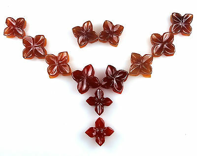 140.4 CTS Red Onyx Carved Flower Design Hand Crafted Carving 12 Pcs Lot Gemstone