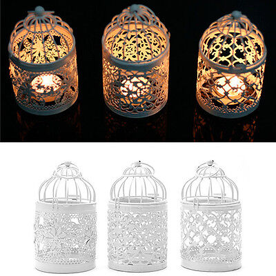Metal Hanging Lantern Bird Cage Hollow Flower Candle Holder Tealight Candlestick