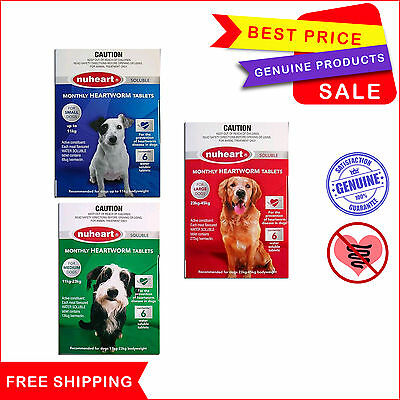 NUHEART 6 Tablets Heartworm treatment for Dogs All Sizes by Pharmachem
