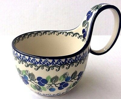 New C.A. Polish Pottery 14 oz Loop Handled Bowl-Blue Berries