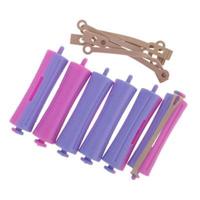 Lot of 6 Salon Cold Wave Rods Rubber Bands Hair Roller Curling Curlers Perms