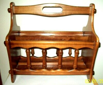 vintage old colonial spindle wood magazine rack book holder newspaper holder