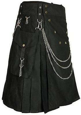 Men ' s Utility Kilt 100% Black Cotton Unisex Adult Custom Made With Chain