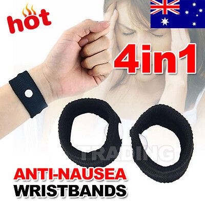 4PCS Anti Nausea Wristbands Travel Sick Bands Motion Sea Plane Car Sickness