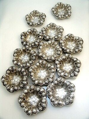 Set of Twelve Sterling Silver Repousse Nut Dishes William Kerr 1900 No Monogram