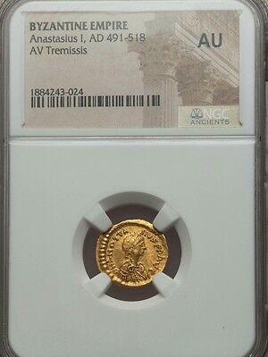 Byzantine Gold Coin Anastasius AV Tremissis NGC AU ancient gold coin