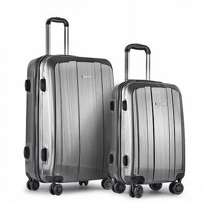 "NEW 2 Pieces Lightweight Hard Shell Travel Luggage 20"" & 28"" with TSA Lock- Grey"