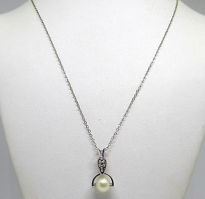 "14k WHITE GOLD NECKLACE WITH DIAMOND & PEARL PENDANT ct 14"" CHAIN_NO RESERVE"