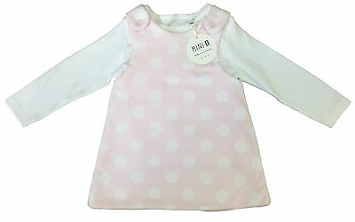 Baby Girls 2 Piece Outfit Pink Spotted Dress With White Top Mini B Bhs Bnwt