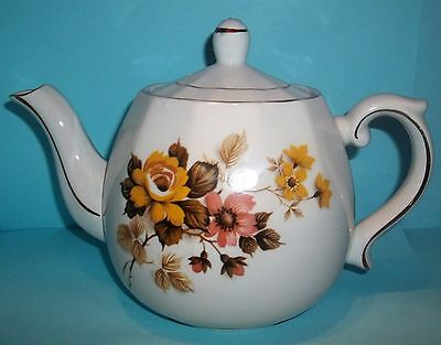 Ellgreave Wood & Sons Yellow,Brown & Pink  Floral Ironstone 4 Cup Teapot-England
