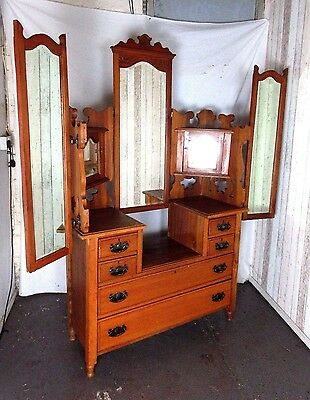 An Antique Late Victorian Solid Satinwood Dressing Chest Table Delivery Availabl