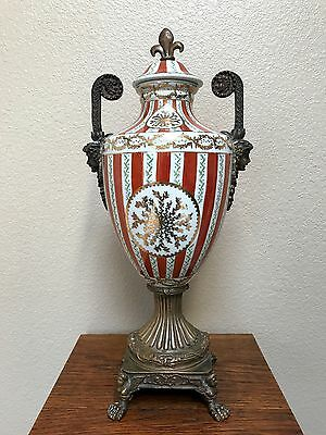Antique French Neoclassical Porcelain and Bronze Urn