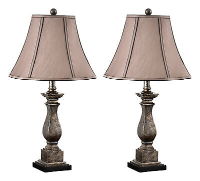 "Kings Brand 25""H Brushed Silver / Brown Fabric Shade Table Lamps, Set Of 2"