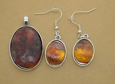 Silver Jewelry Pendant & earrings with Amber gemstones 14 gr