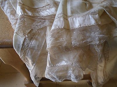 Antique Victorian Wool Flannel Shawl / Wrap / Cover - Net Lace Trim